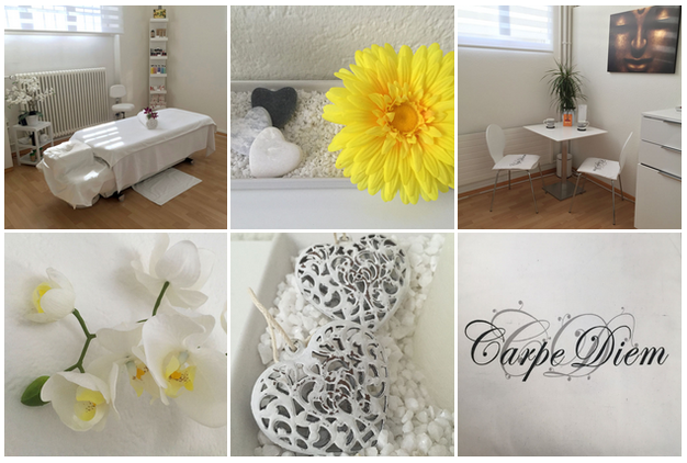 Massagepraxis Feel the Flow von Christina Rolli in Bern; Blumen; Massage; Relax; Carpe Diem; Buddha Bild; Einrichtung; Tisch und Stühle; Herzen; Deko; Massageliege; heller Raum; Orchidee; Wohlfühlen; Entspannung