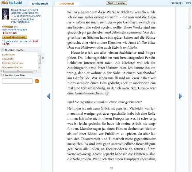 Ausschnitt aus der Buch-Vorschau bei Amazon