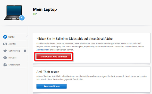 mein Laptop Eset