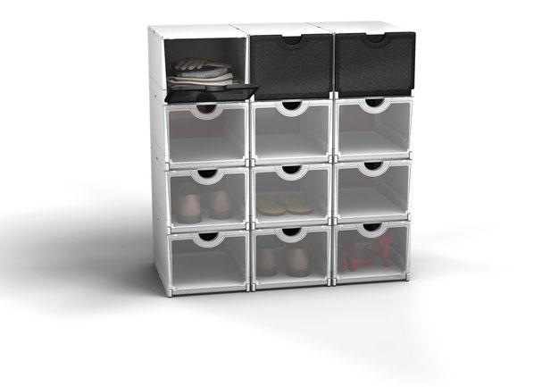 Schuhschrank aus stabilen Kunststoffboxen