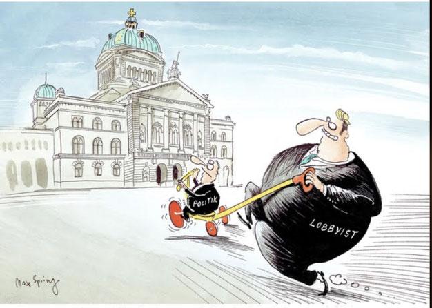 """""""So arbeiten die Lobbyisten im Bundeshaus"""": Karikatur und Bericht Berner Zeitung vom 13.02.2014"""