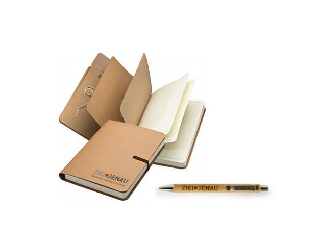 Notizbuch & Bambusholz-Stift
