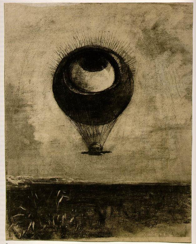 オディロン・ルドン「眼=気球」(1878年)