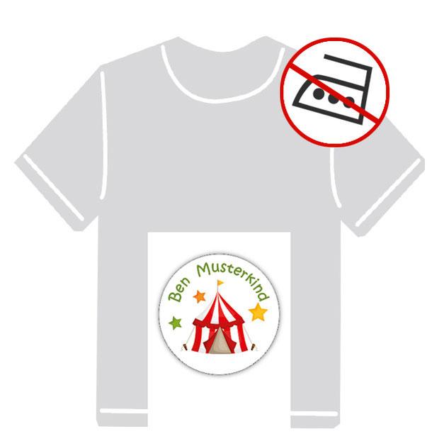 runde Kleidungsaufkleber für kurzfristige Markierung der Kleidung - ohne Aufbügeln - pvc-frei - Motiv: Zirkuszelt