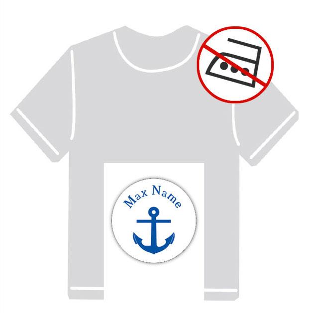 runde Kleidungsaufkleber für kurzfristige Markierung der Kleidung - ohne Aufbügeln - pvc-frei - Motiv: Anker