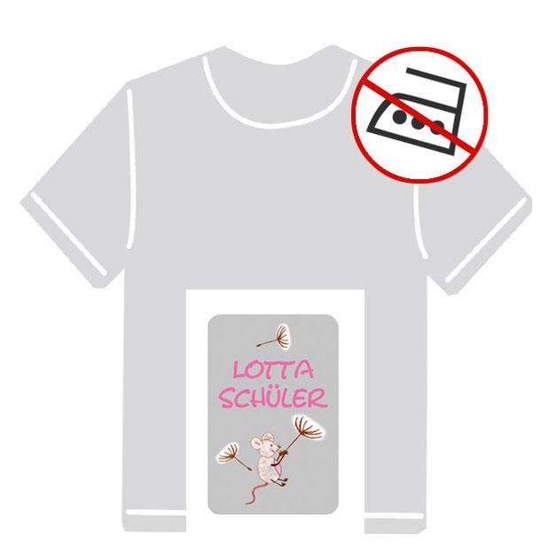 Kleidungsaufkleber für kurzfristige Markierung der Kleidung - ohne Aufbügeln - pvc-frei - Motiv: Maus