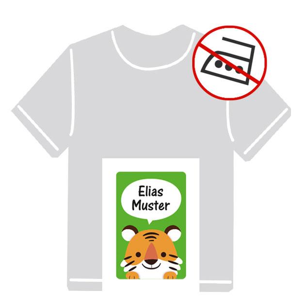 Kleidungsaufkleber für kurzfristige Markierung der Kleidung - ohne Aufbügeln - pvc-frei - Motiv: Kleiner Tiger