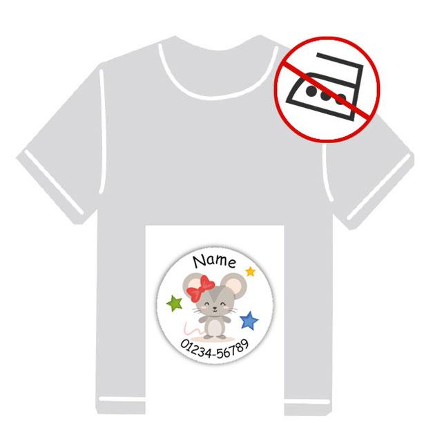 runde Kleidungsaufkleber für kurzfristige Markierung der Kleidung - ohne Aufbügeln - pvc-frei - Motiv: Maus mit Sternchen