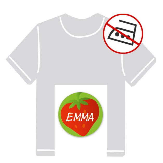 runde Kleidungsaufkleber für kurzfristige Markierung der Kleidung - ohne Aufbügeln - pvc-frei - Motiv: Erdbeere