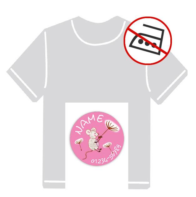 runde Kleidungsaufkleber für kurzfristige Markierung der Kleidung - ohne Aufbügeln - pvc-frei - Motiv: Maus mit Pusteblume