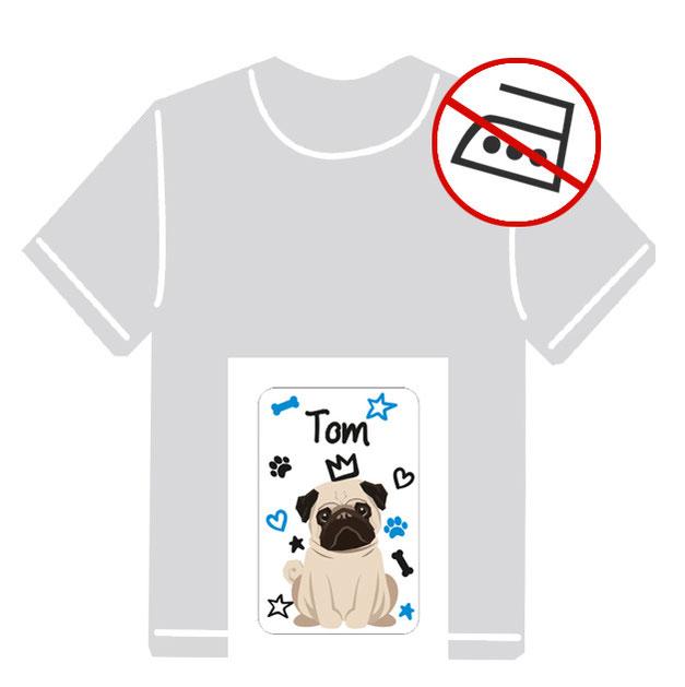 Kleidungsaufkleber für kurzfristige Markierung der Kleidung - ohne Aufbügeln - pvc-frei - Motiv: Mops - Hund