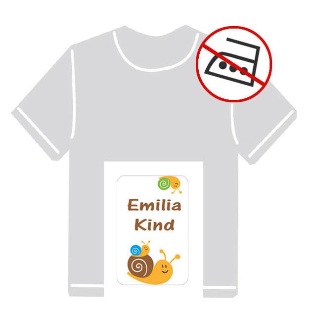 Kleidungsaufkleber für kurzfristige Markierung der Kleidung - ohne Aufbügeln - pvc-frei - Motiv: Schnecke