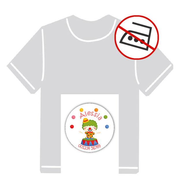 runde Kleidungsaufkleber für kurzfristige Markierung der Kleidung - ohne Aufbügeln - pvc-frei - Motiv: Clown