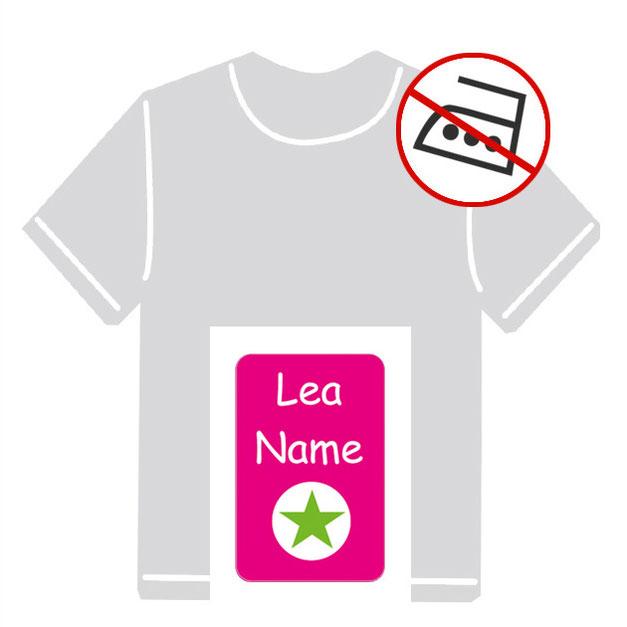Kleidungsaufkleber für kurzfristige Markierung der Kleidung - ohne Aufbügeln - pvc-frei - Motiv: Stern