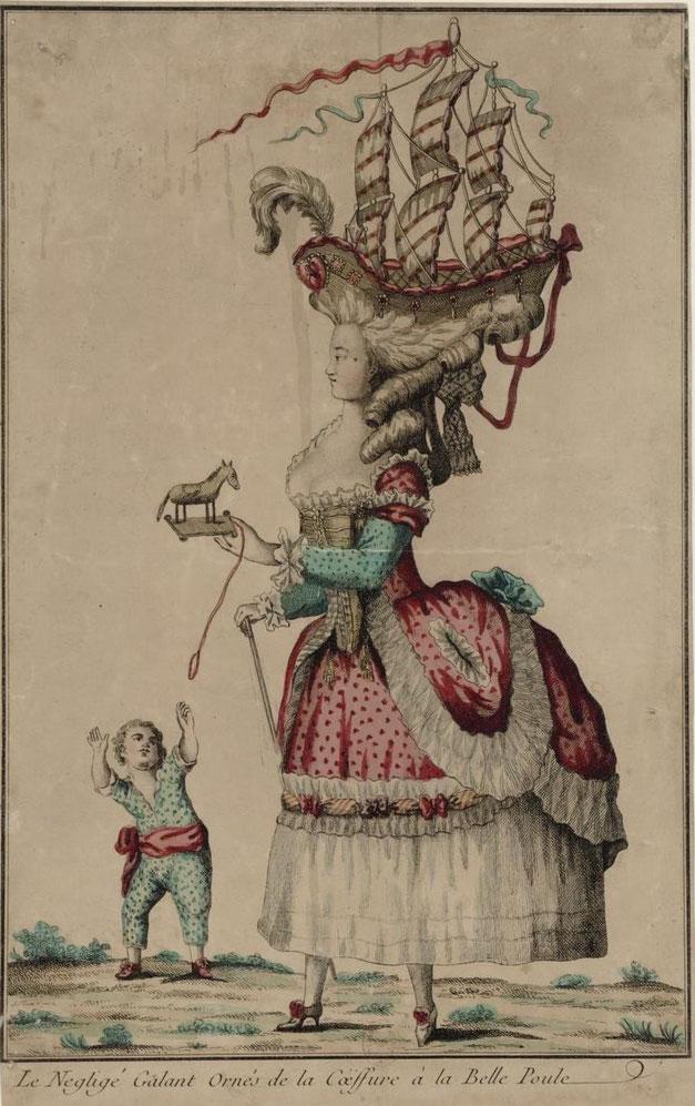Gravure dont le titre est «  Le négligé galant orné de la coëffure à la Belle-Poule »