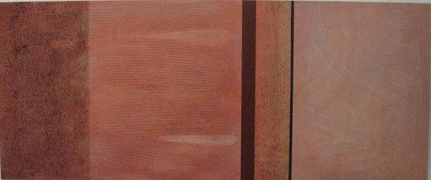 Nr. 2008-HO-001: 120 x 50 cm, Strukturmasse, Kaffeelasur, Acryl auf MDF