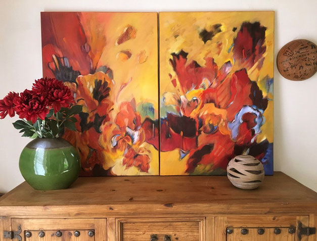 Titel: Skyfall  - Abstract 1 & 2 - tweeluik 140 x 100 cm