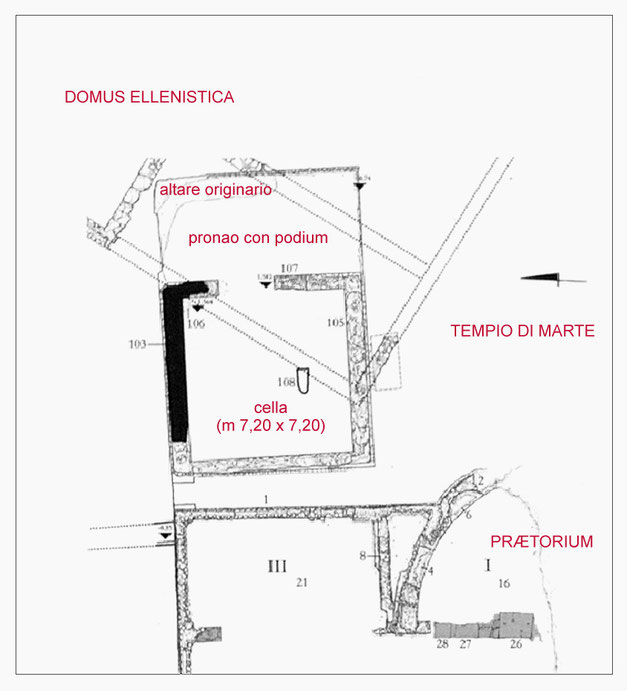 Planimetria area tempio di Marte di Larinum