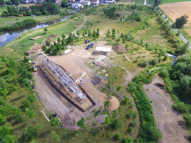 Luftbild während der Bauphase der Station der Frühen Römischen Kaiserzeit