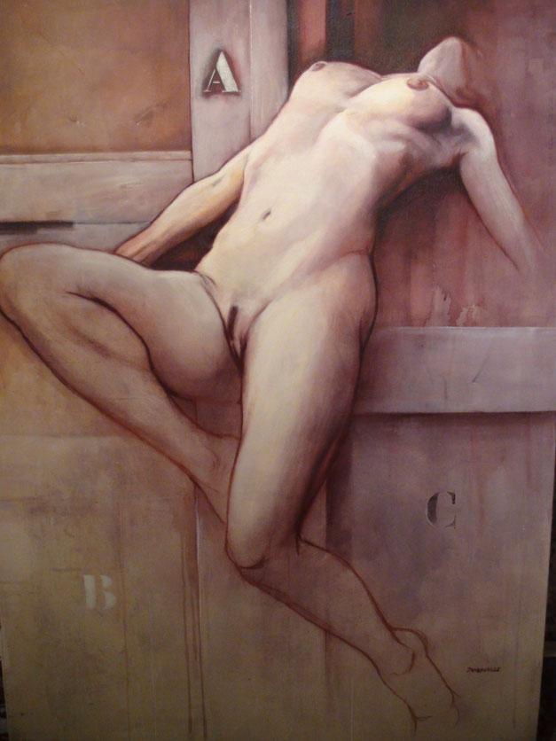 """Véronique PICCIOTTO """"corps à l'abandon"""" peinte par Claude DUVAUCHELLE"""