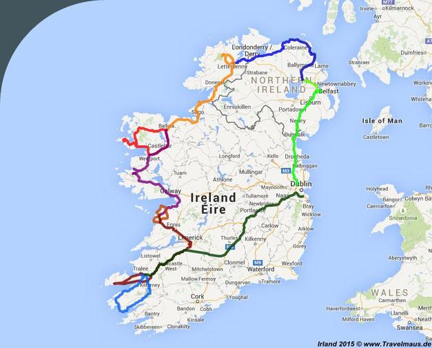 Irland-Busreise 27.4.-8.5.2015 ca. 2200 km