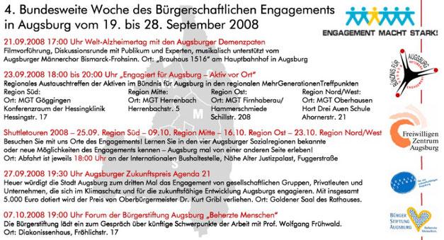 Bundesweite Woche des bürgerschaftlichen Engagements 2008 in Augsburg vom 19. bis 28. September 2008