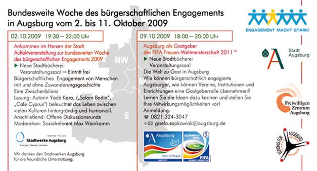 Bundesweite Woche des bürgerschaftlichen Engagements 2009 in Augsburg vom 02. bis 11. Oktober 2009