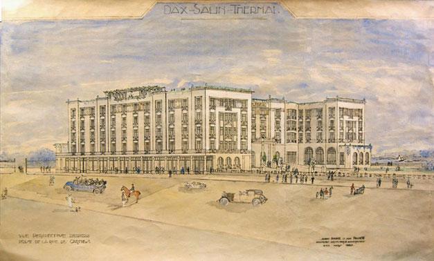 Perspective réalisée à l'aquarelle en 1927 par Albert Pomade et Jean Prunetti, architectes DPLG, en vue de la construction du nouvel hôtel thermal.