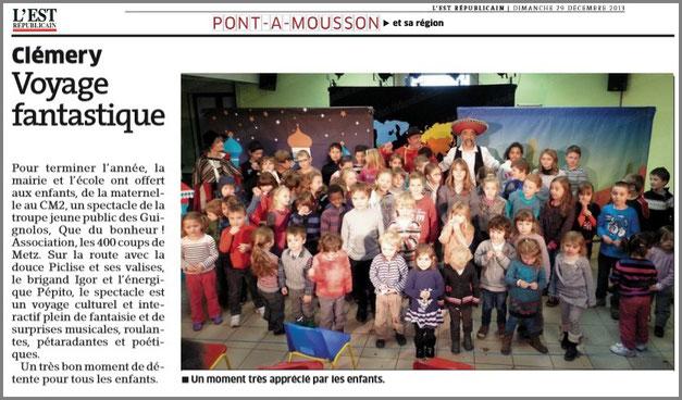 article_de_presse_EST_REPUBLICAIN_29122013_LES_GuiGnOlOs_spectacle_theatral_pour_enfants_et_la_famille_saison_2013_2014_54610_CLEMERY