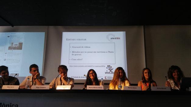 D'esquerra a dreta: Àlex Serra, Íñigo Ovejero, Pol Salvador, Marta Meneu-Borja, Marta Botet, Àfrica Bonet i Ester F. Matalí
