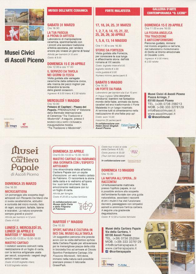 Gli eventi organizzati dai Musei Civici di Ascoli Piceno nei mesi di Marzo, Aprile e Maggio 2018