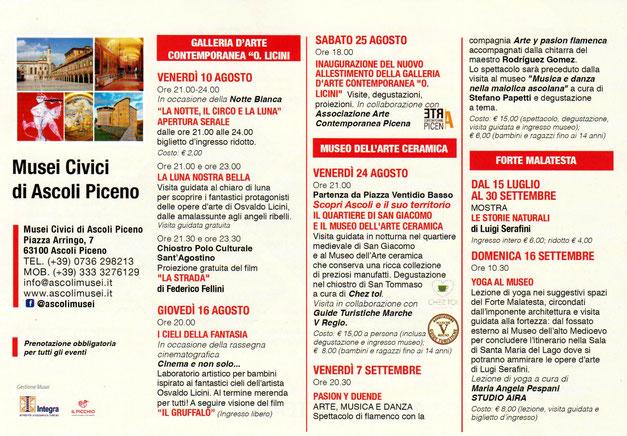 Gli eventi organizzati dai Musei Civici di Ascoli Piceno nei mesi di Agosto e Settembre 2018
