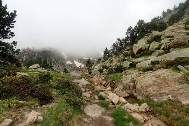L'arrivée au Gourg de Rabas est proche. Je m'interroge sur la suite à donner à notre randonnée. La brume semble tenace.