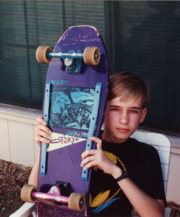 Michael Madison and his favorite skateboard. Neal Blender from Gordon & Smith.