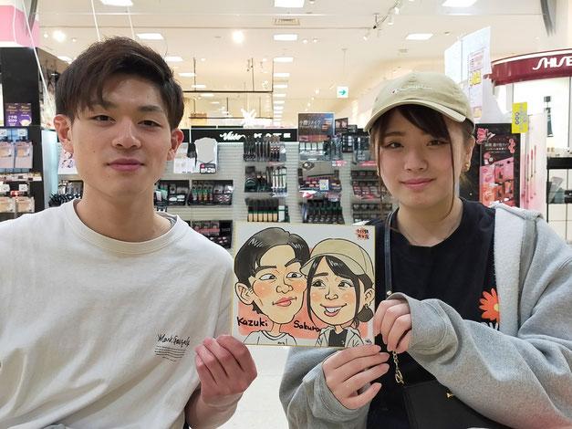 さくら野百貨店・北上店で描いたカップルの似顔絵