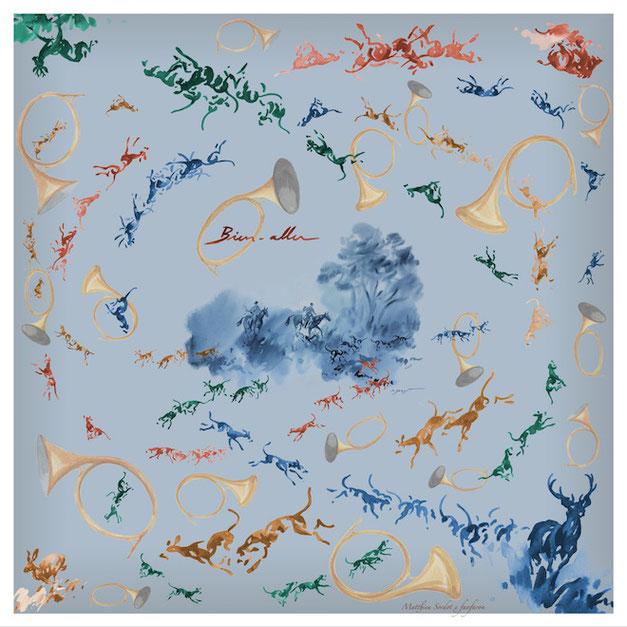 Foulard Carré de Soie Fanfaron Made in France bien-aller Peintre animalier matthieu sordot
