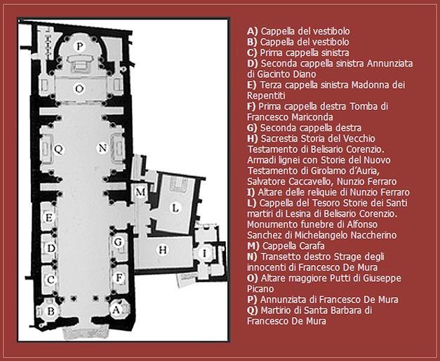 Pianta Basilica Annunziata Maggiore a Napoli