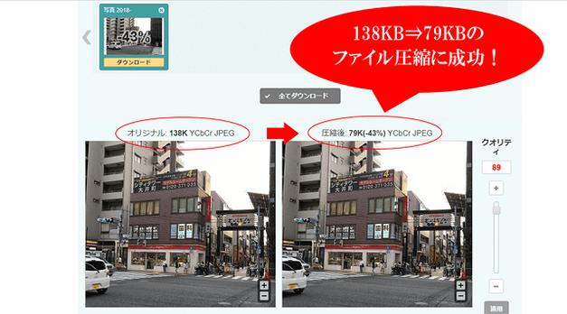 画像ファイル圧縮サイトで画像圧縮した結果を表示している画面