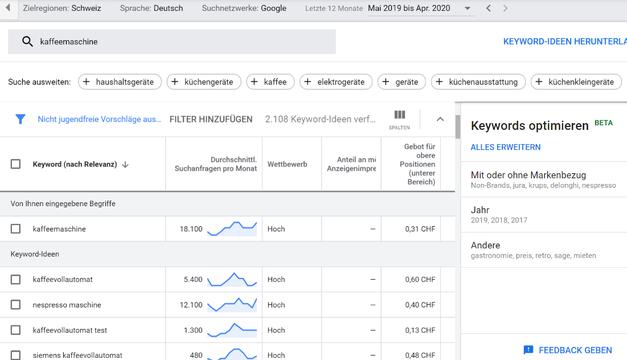 Keyword-Planer in Google Ads
