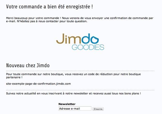exemple page de confirmation commande Jimdo