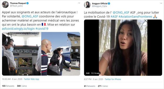 Les tweets de Thomas Pesquet et Anggun, parrain et marraine d'Aviation Sans Frontières