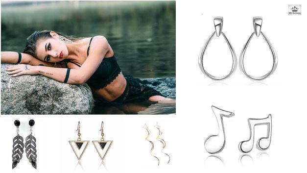 bijoux femme boucles d'oreilles clic tendance