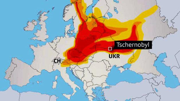 Vinden driver i retning nordvest og hvirvler atomare partikler til Finland, Sverige, Norge, dele af Central - og  Østeuropa indtil det østlige USA ... ....