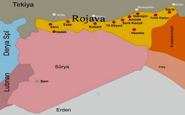 Kort over Rojava, der skønnes at have 4,6 millioner indbyggere