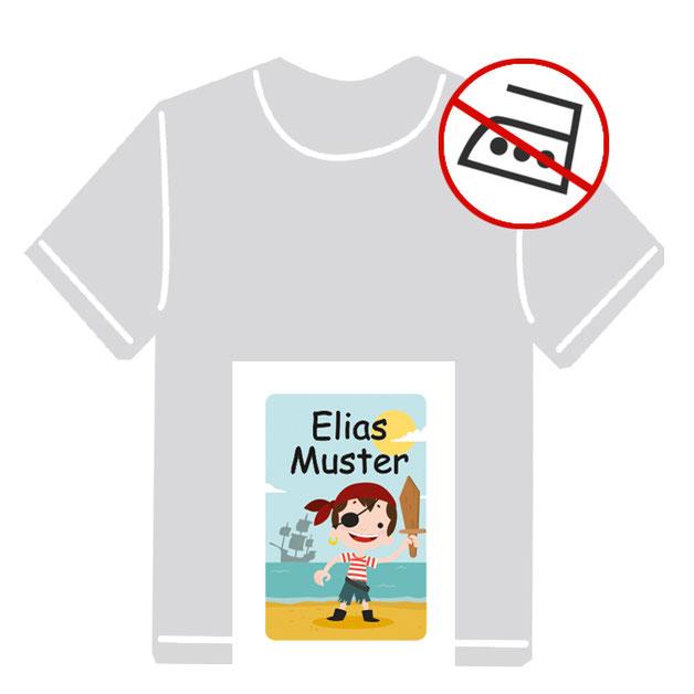 Kleidungsaufkleber für kurzfristige Markierung der Kleidung - ohne Aufbügeln - pvc-frei - Motiv: Pirat
