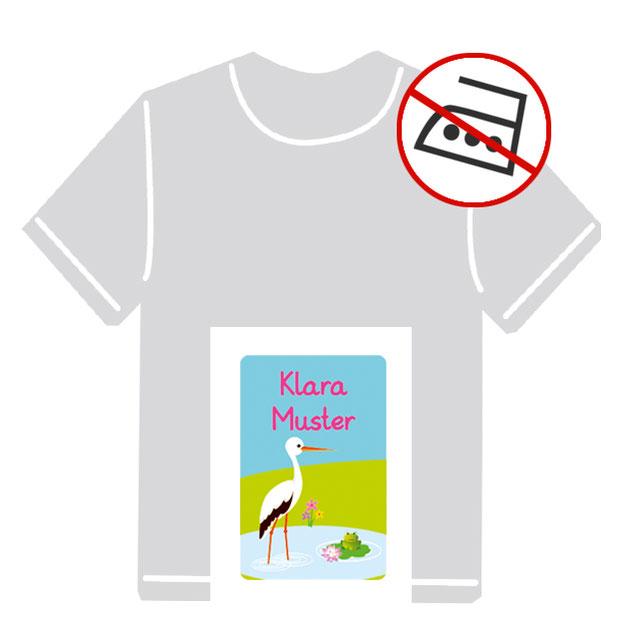 Kleidungsaufkleber für kurzfristige Markierung der Kleidung - ohne Aufbügeln - pvc-frei - Motiv: Storch