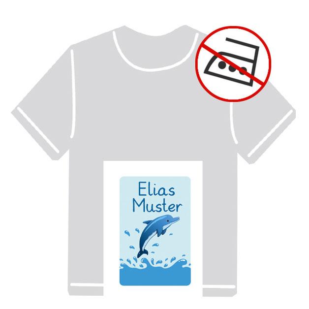 Kleidungsaufkleber für kurzfristige Markierung der Kleidung - ohne Aufbügeln - pvc-frei - Motiv: Delfin