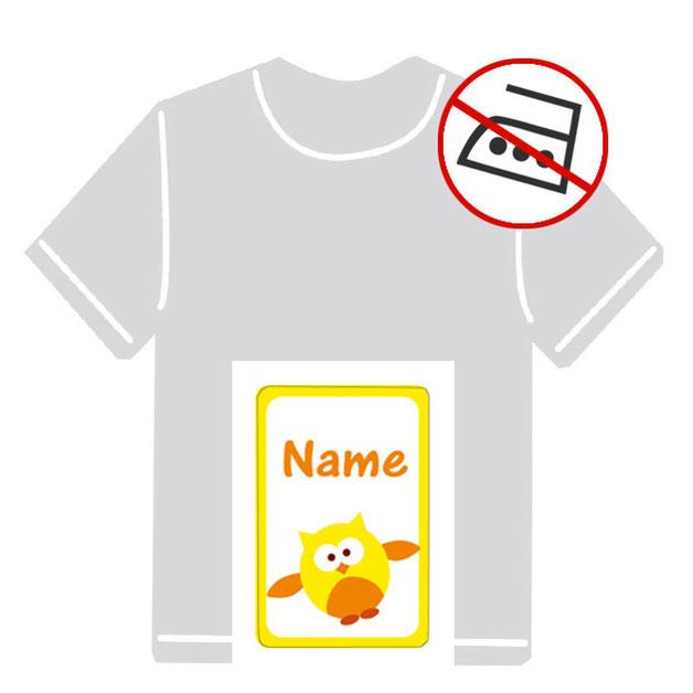 Kleidungsaufkleber für kurzfristige Markierung der Kleidung - ohne Aufbügeln - pvc-frei - Motiv: Eule