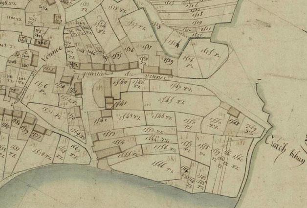 Détail du cadastre de 1809, le terrain de la maison  correspond aux parcelle 1525 PA et 1526 PA, le chemin le long entre la maison et l'ancienne poste n'existe pas