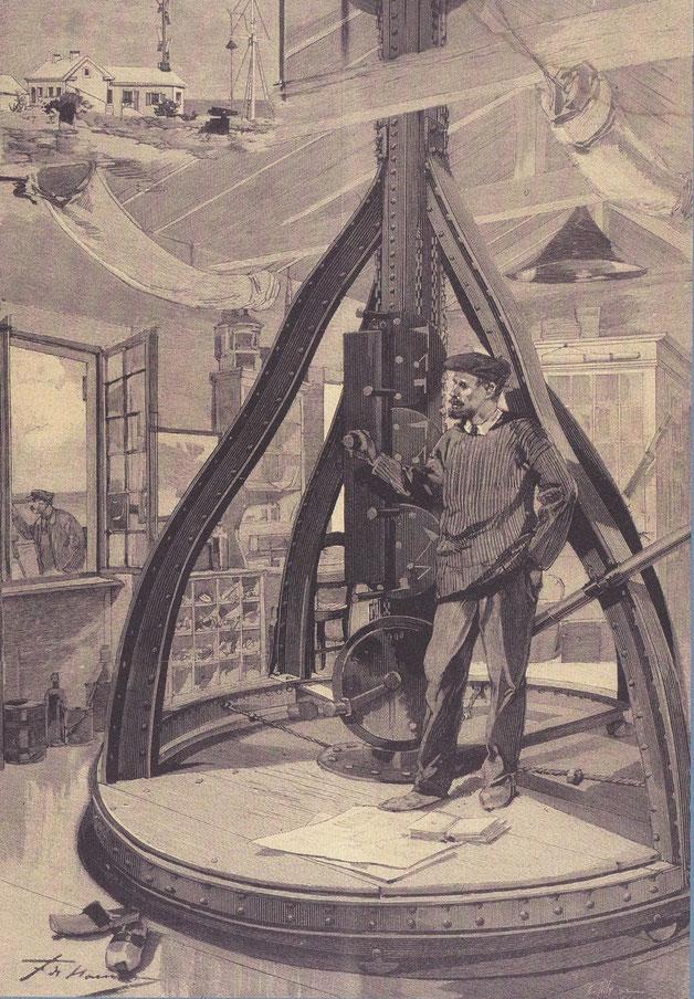 Guetteurs sémaphoriques, gravure publiée dans l'illustration